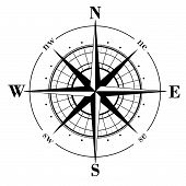Black compass rose - isolated on white background poster