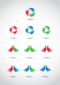 Colorful 3d vector arrows set.EPS 10.Full Vector.