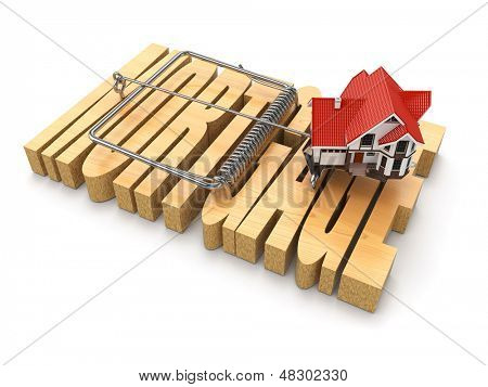 Concept of mortgage. House and mousetrap. 3d