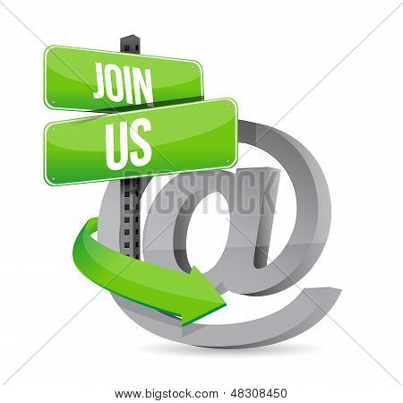 join us internet at road sign illustration design over white poster