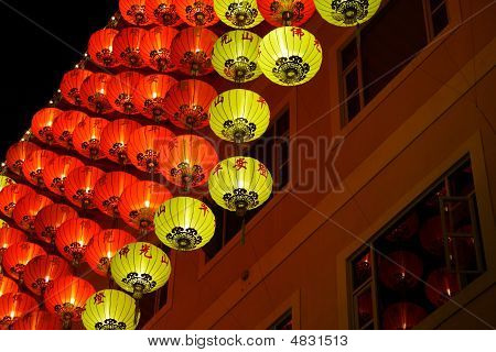 Chinese Red Lantern At Night