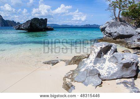 Rocks in a blue sea