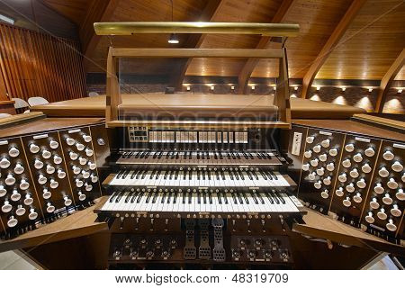 Church Pipe Organ Keyboards Pedalboard and Control Buttons poster