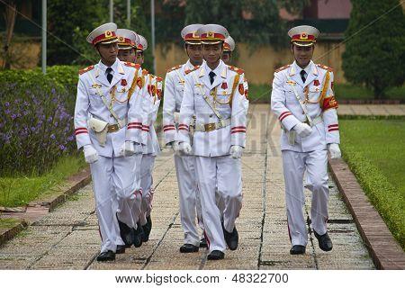 Changing guards at Ho Chi Minh mausoleum