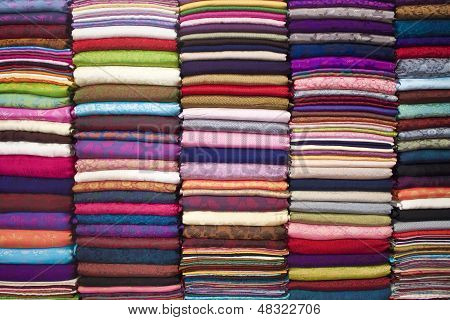 Colorful stacked fabric
