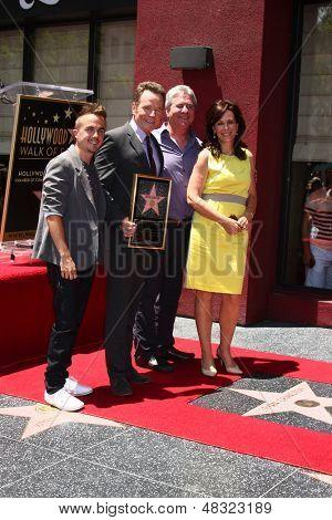 LOS ANGELES - JUL 16:  Frankie Muniz, Bryan Cranston, Producer, Jane Kaczmarek at the Hollywood Walk of Fame Star Ceremony for Bryan Cranston at the Redbury Hotel on July 16, 2013 in Los Angeles, CA