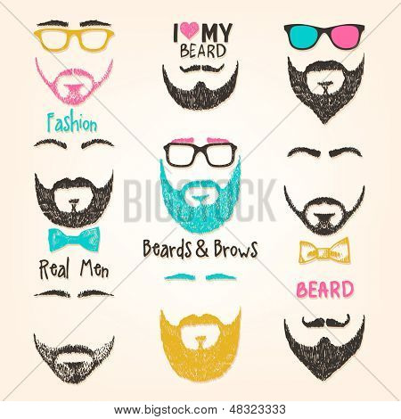 Set of mustache and beards