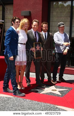 LOS ANGELES - JUL 16:  RJ Mitte, Anna Gunn, Bryan Cranston, Aaron Paul, Producer at the Hollywood Walk of Fame Star Ceremony for Bryan Cranston at the Redbury Hotel on July 16, 2013 in Los Angeles, CA