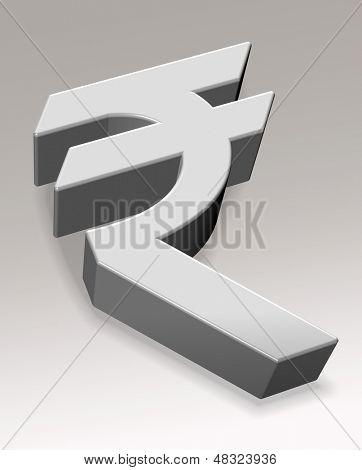 3D Rupee symbol