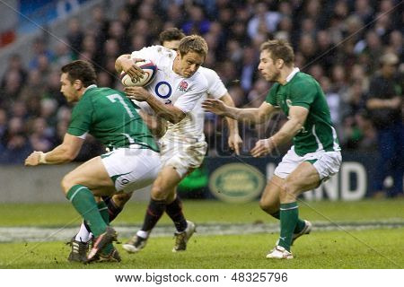 TWICKENHAM LONDON, 27/02/2010. Jonny Wilkinson tries to force his way through the Irish defence during the RBS 6 Nations rugby union match between England and Ireland at the Twickenham Stadium.
