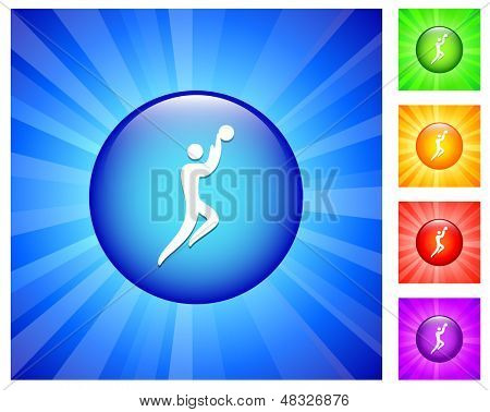 Basketball Icon on Round Button with Blue Glow