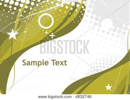abstract green wave halftone lines background with sample text poster