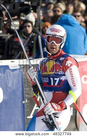 KITZBUHEL TIROL, AUSTRIA - JAN 24 2009; Kitzbuhel Tirol Austria, Didier Defago (SUI) competing in the Hahnenkamm race  the men's downhill ski race part of the Audi FIS Alpine Ski  World cup.