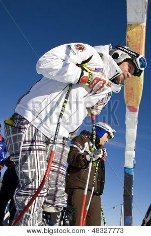 KITZBUHEL TIROL, AUSTRIA - JAN 24 2009; Kitzbuhel Tirol Austria, Marco Buchel Innspecting the course for the Hahnenkamm race  the men's downhill ski race part of the Audi FIS Alpine Ski  World cup.