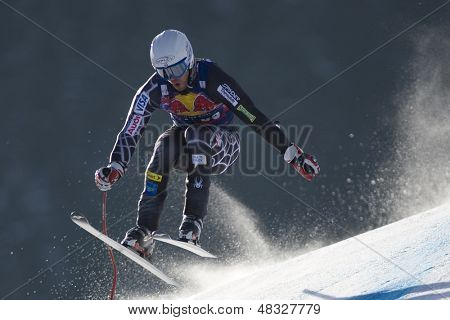 KITZBUHEL TIROL, AUSTRIA - JAN 24 2009; Kitzbuhel Tirol Austria, Thomas Lanning (USA) competing in the Hahnenkamm race  the men's downhill ski race part of the Audi FIS Alpine Ski  World cup.