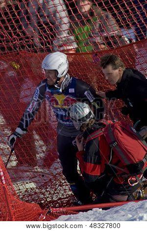 KITZBUHEL TIROL, AUSTRIA - JAN 24 2009; Kitzbuhel Tirol Austria, Thomas Lanning (USA) having crashed out whilst  competing in the Hahnenkamm race  the men's downhill ski race part of the Audi FIS Alpine Ski  World cup.