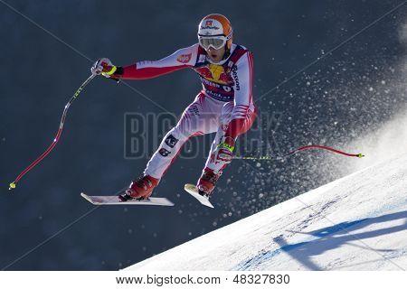KITZBUHEL TIROL, AUSTRIA - JAN 24 2009; Kitzbuhel Tirol Austria, Romed Baumann (AUT) competing in the Hahnenkamm race  the men's downhill ski race part of the Audi FIS Alpine Ski  World cup.