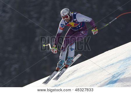 KITZBUHEL TIROL, AUSTRIA - JAN 24 2009; Kitzbuhel Tirol Austria, Marco Buechel (LIE) competing in the Hahnenkamm race  the men's downhill ski race part of the Audi FIS Alpine Ski  World cup.