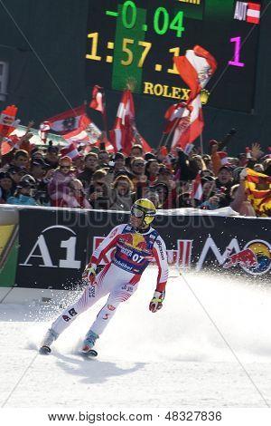 KITZBUHEL TIROL, AUSTRIA - JAN 24 2009; Kitzbuhel Tirol Austria, Hermann Maier (AUT) competing in the Hahnenkamm race  the men's downhill ski race part of the Audi FIS Alpine Ski  World cup.