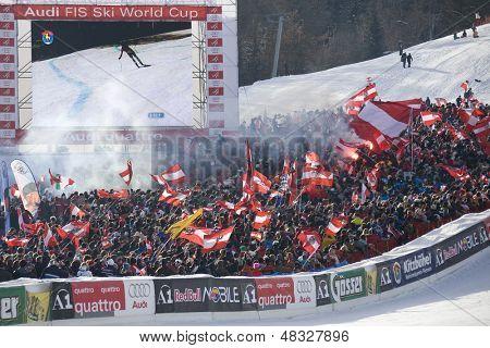 KITZBUHEL TIROL, AUSTRIA - JAN 24 2009; Kitzbuhel Tirol Austria, Finish area of the Hahnenkamm race  the men's downhill ski race part of the Audi FIS Alpine Ski  World cup.