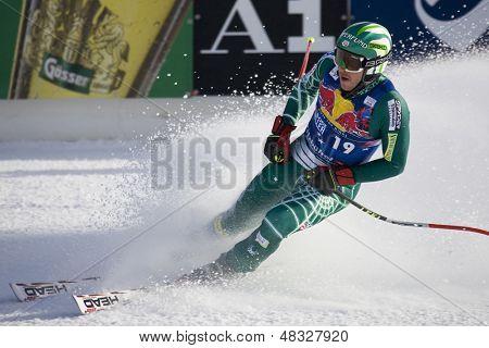 KITZBUHEL TIROL, AUSTRIA - JAN 24 2009; Kitzbuhel Tirol Austria, Bode Miller (USA) competing in the Hahnenkamm race  the men's downhill ski race part of the Audi FIS Alpine Ski  World cup.