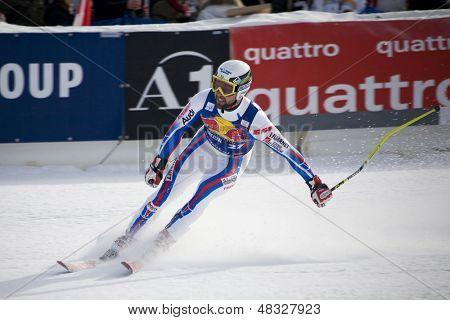 KITZBUHEL TIROL, AUSTRIA - JAN 24 2009; Kitzbuhel Tirol Austria, Pierre Emanuel Dalcin (FRA)  competing in the Hahnenkamm race  the men's downhill ski race part of the Audi FIS Alpine Ski  World cup.