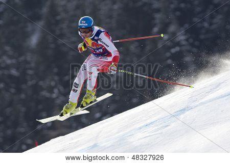 KITZBUHEL TIROL, AUSTRIA - JAN 24 2009; Kitzbuhel Tirol Austria, Georg Streitberger (AUT) competing in the Hahnenkamm race  the men's downhill ski race part of the Audi FIS Alpine Ski  World cup.