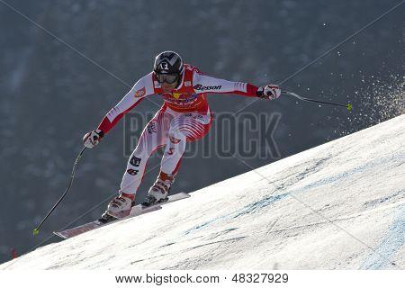 KITZBUHEL TIROL, AUSTRIA - JAN 24 2009; Kitzbuhel Tirol Austria, Michael Walchhofer (AUT) 2nd place in the Hahnenkamm race  the men's downhill ski race part of the Audi FIS Alpine Ski  World cup.