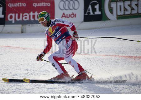 KITZBUHEL TIROL, AUSTRIA - JAN 24 2009; Kitzbuhel Tirol Austria, Klaus Kroell (AUT) competing in the Hahnenkamm race  the men's downhill ski race part of the Audi FIS Alpine Ski  World cup.