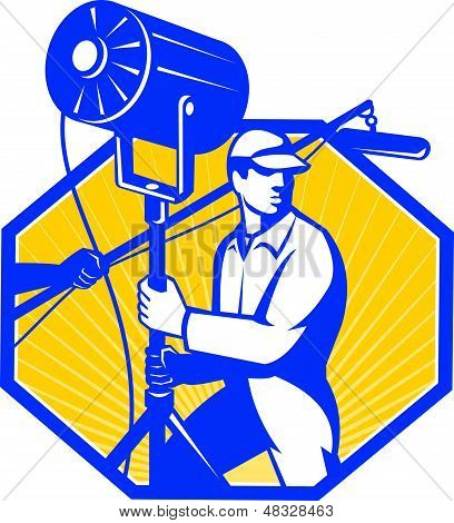 Illustration of a electrical lighting technician crew with fresnel spotlight and sound boom microphone set inside hexagon done in retro style. poster