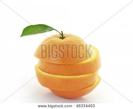 orange fruit segments or cantles isolated on white background