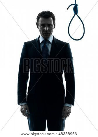 one caucasian judge  man standing in front of hangman's noose in silhouette studio isolated on white background