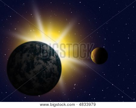 The Planet Earth With Flare In Space