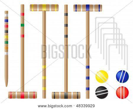 Set Equipment For Croquet Vector Illustration