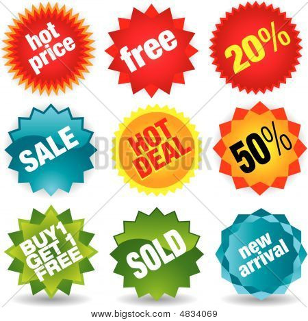 Set Of Colorful Vector Sale Stickers And Labels - Visit My Portfolio For More Sale Labels.