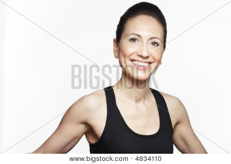 Studio Shot van sportieve Kaukasische vrouw
