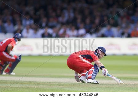 LONDON - 12 SEPT 2009; London England: England team player Matt Prior runs his bat into the crease during the Nat West, 4th one day international cricket match  held at Lords Cricket ground