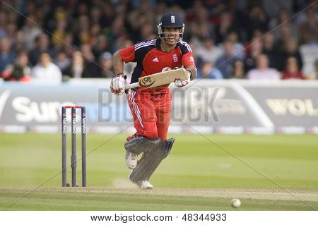 LONDON - 12 SEPT 2009; London England: England team player Owais Shah runs a single during the Nat West, 4th one day international cricket match between England and Australia held at Lords Cricket ground