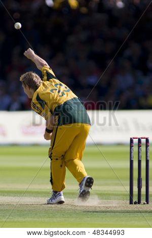 LONDON - 12 SEPT 2009; London England: Australia team player Shane Watson bowling during the Nat West, 4th one day international cricket match between England and Australia held at Lords Cricket ground