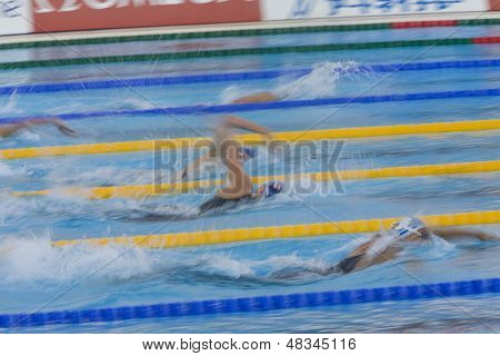 ROME, ITALY - JULY 01 2009; Rome Italy; competitors in the womens 800m freestyle final at the 13th Fina World Aquatics Championships held in the The Foro Italico Swimming Complex.