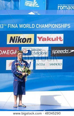 ROME, ITALY - JULY 23 2009; Rome Italy; Troy Dumais (USA) silver medal winner in the men's 3m springboard diving competition at the 13th Fina World Aquatics Championships at the The Foro Italico Swimming Complex.