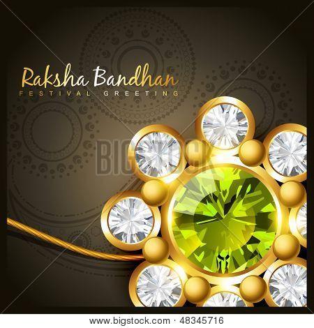 beautiful golden rakhi for indian rakshabandhan festival