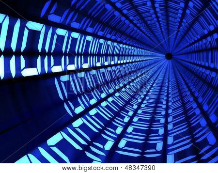 Binary code tunnel technology concept illustration