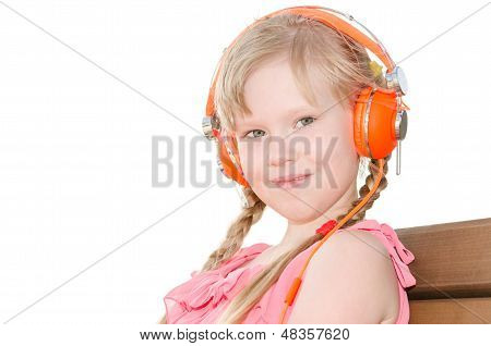 Girl With Pigtails Listening Language Lessons In Headphones Isolated
