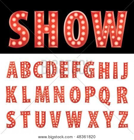 vector red entertainment letters with bulb lamps