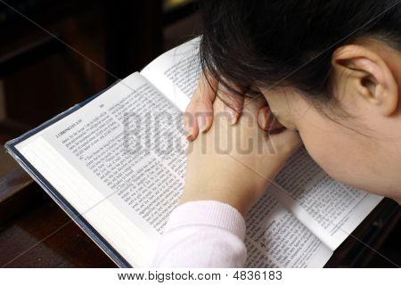 Lady Praying On Her Bible