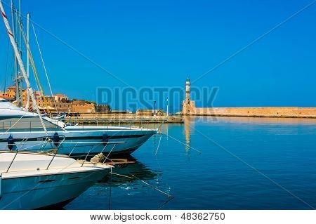 Famous Lighthouse In Bay In Chania