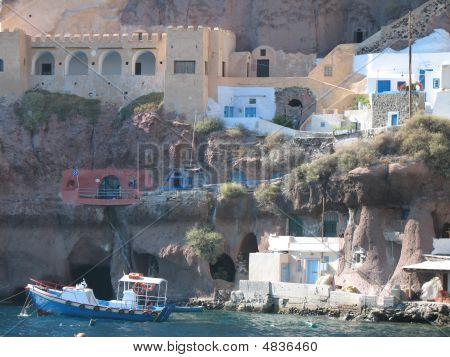 Boats And Cliff Santorini