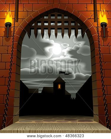 Vector image of the medieval castle gate with a drawbridge and torches against the night sky with the moon and clouds