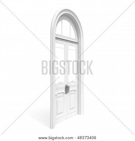 White Wooden Door, Half-turn Isolated On White